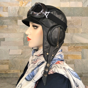 Black leather aviator hat for women