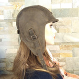 Leather aviator helmet