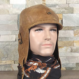 Leather aviator cap