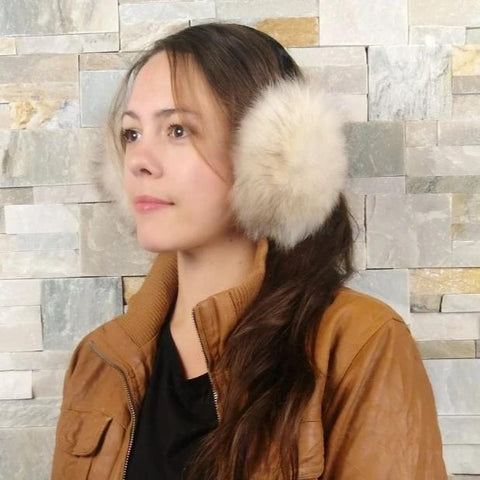 Recycled fox fur earmuffs
