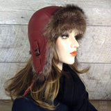 Red winter aviator hat