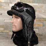 Shearling aviator hat and goggles