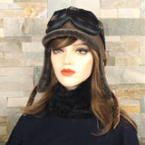 Sheepskin aviator hat and goggles