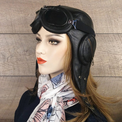 Steampunk hat black leather