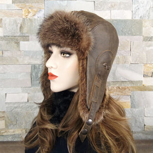 Fur Aviator Hat, Raccoon Fur, Brown Leather - Emy Model