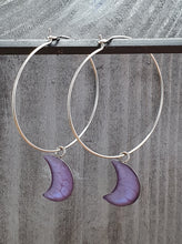 Load image into Gallery viewer, Moons on Round wire drop earrings