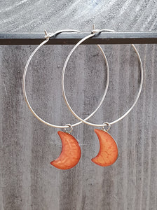 Moons on Round wire drop earrings