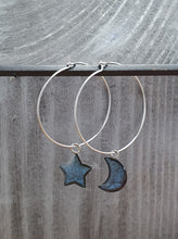 Load image into Gallery viewer, Moon / Stars on Round wire drop earrings