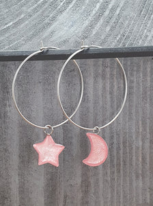 Moon / Stars on Round wire drop earrings