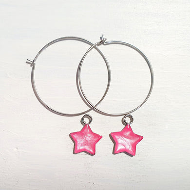 Stars on Round wire drop earrings