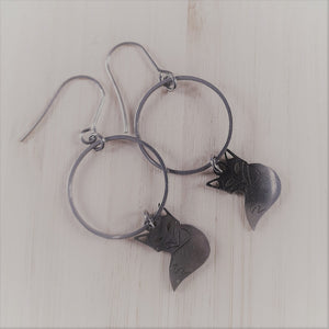 Stainless steel charm drop earrings fox