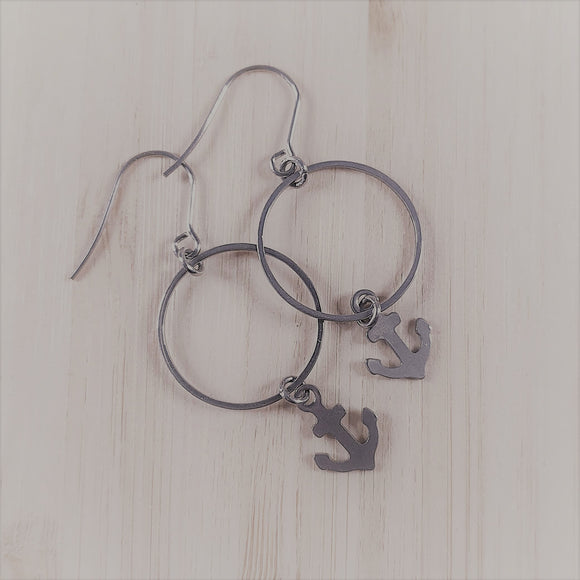 Stainless steel charm drop earrings Anchor