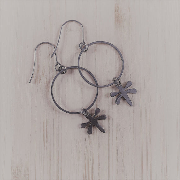 Stainless steel charm drop earrings Dragonfly