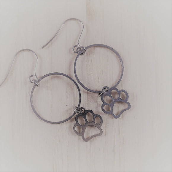 Stainless steel charm drop earrings Paw print