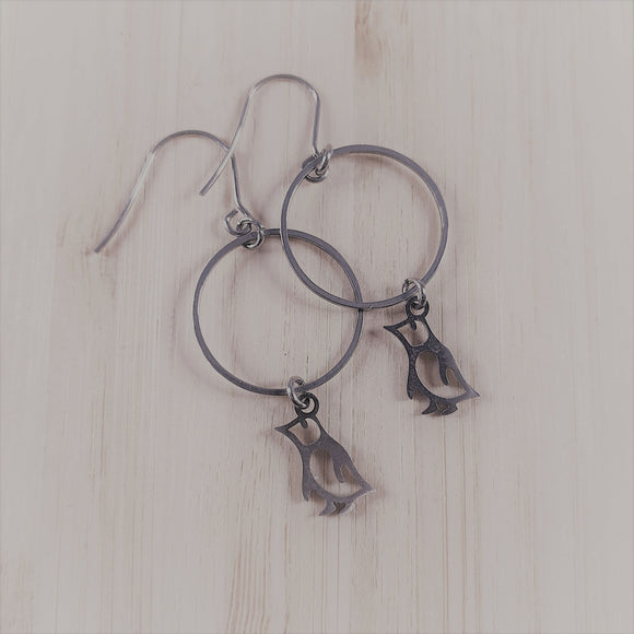 Stainless steel charm drop earrings penguin