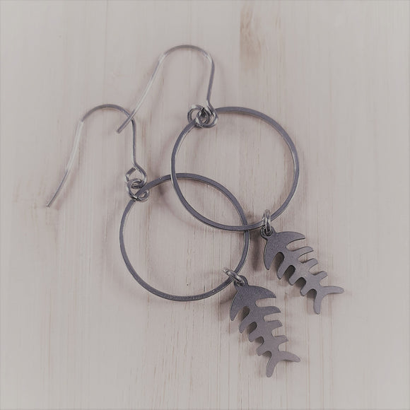 Stainless steel charm drop earrings Fish