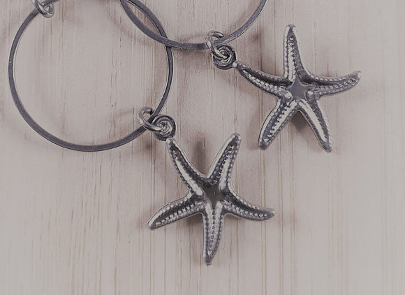 Stainless steel charm drop earrings starfish