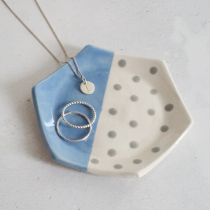 Blue and Grey Hexagon Ring Dish