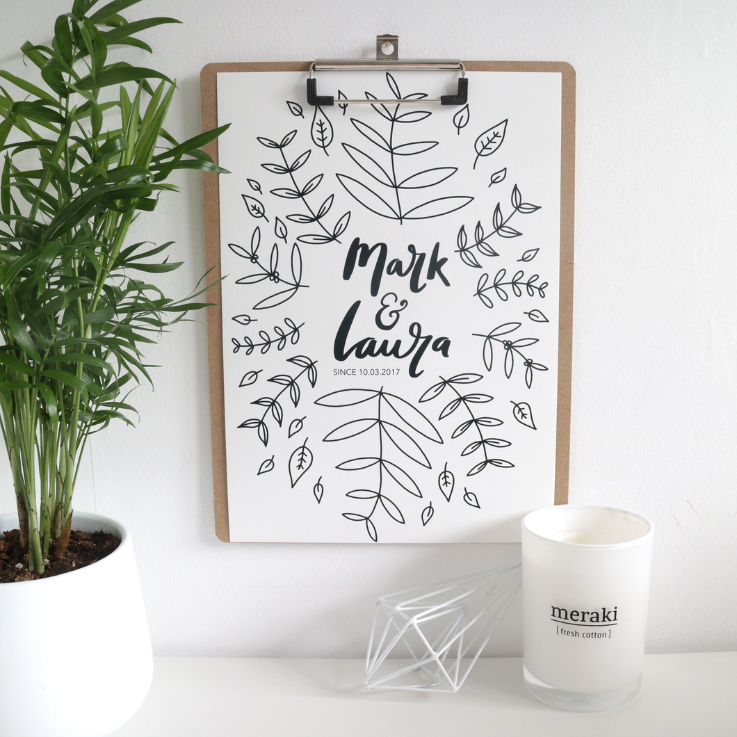 Floral Personalised Couple Print