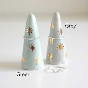 Green and Gold Ceramic Ring Cone