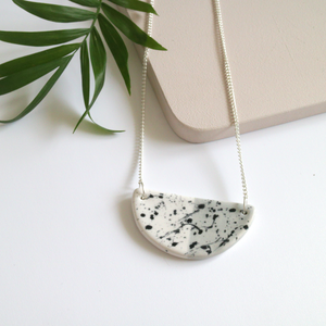 Grey Speckled Ceramic Necklace