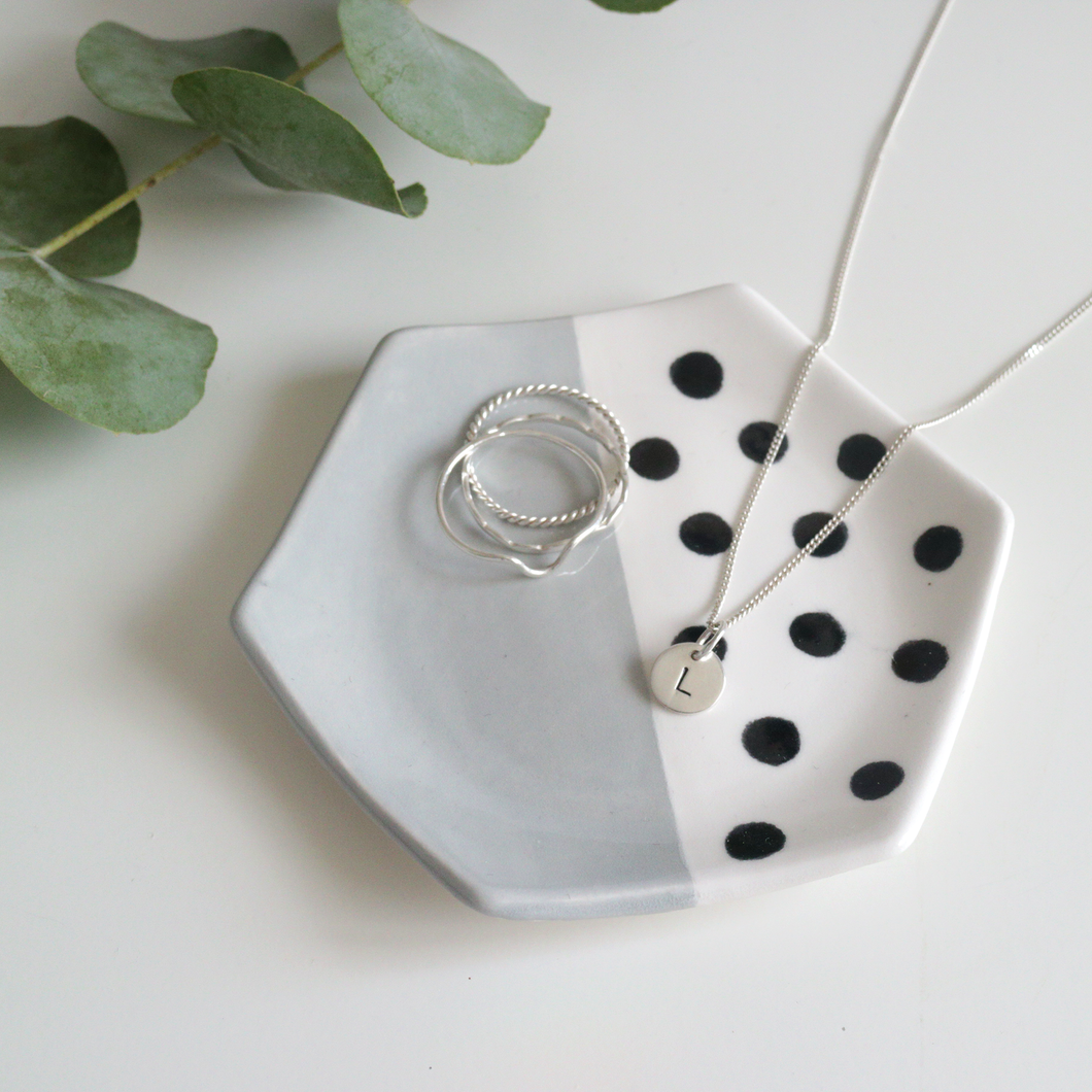 Grey and Black Hexagon Ring Dish