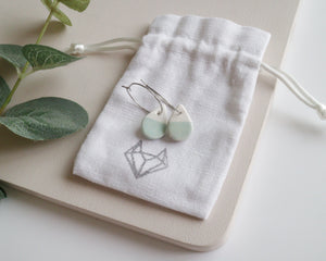White and Green Small Teardrop Earrings
