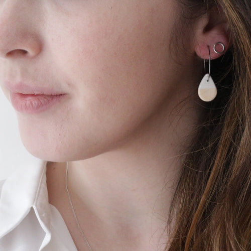 White and Peach Small Teardrop Earrings