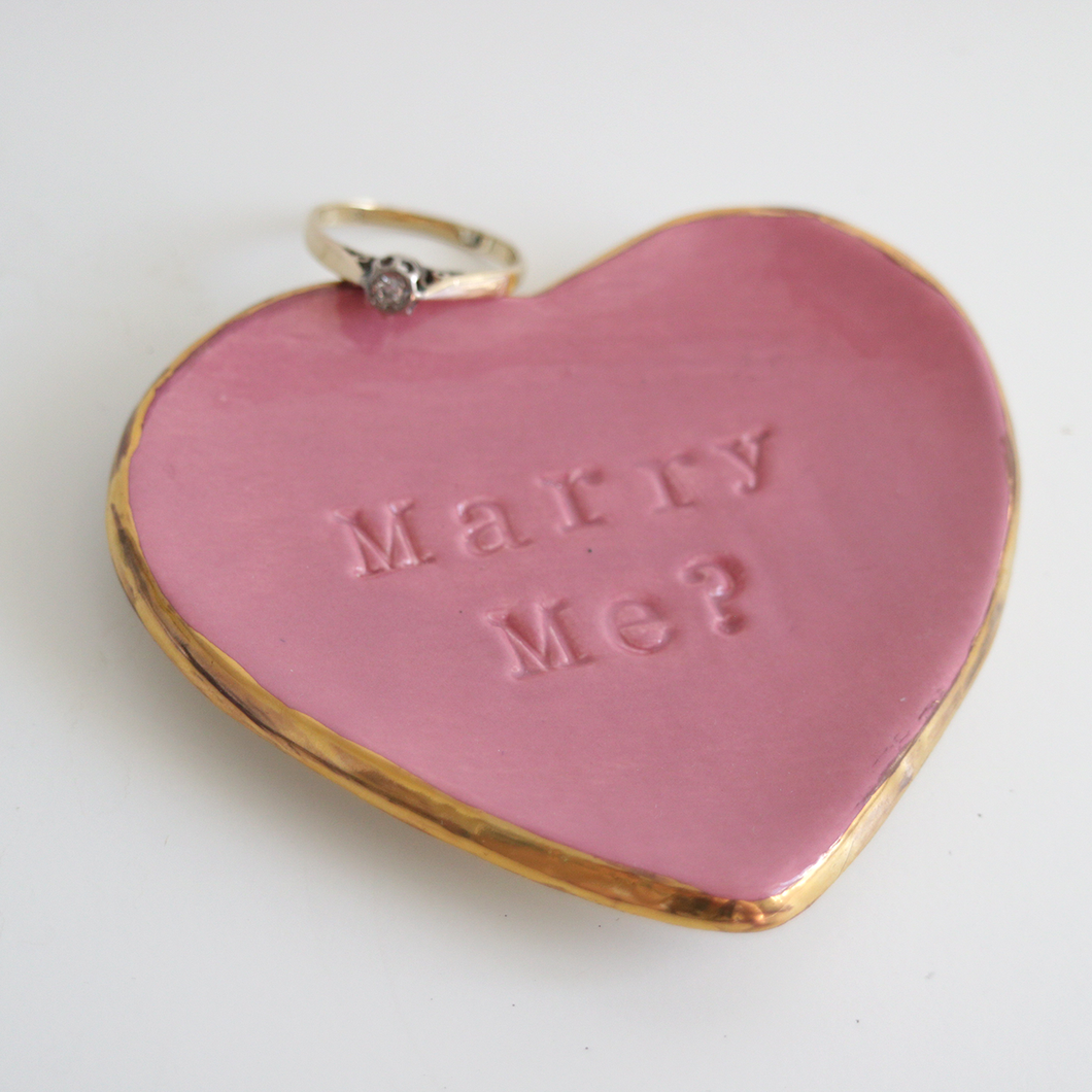 Marry Me Pink Ring Dish
