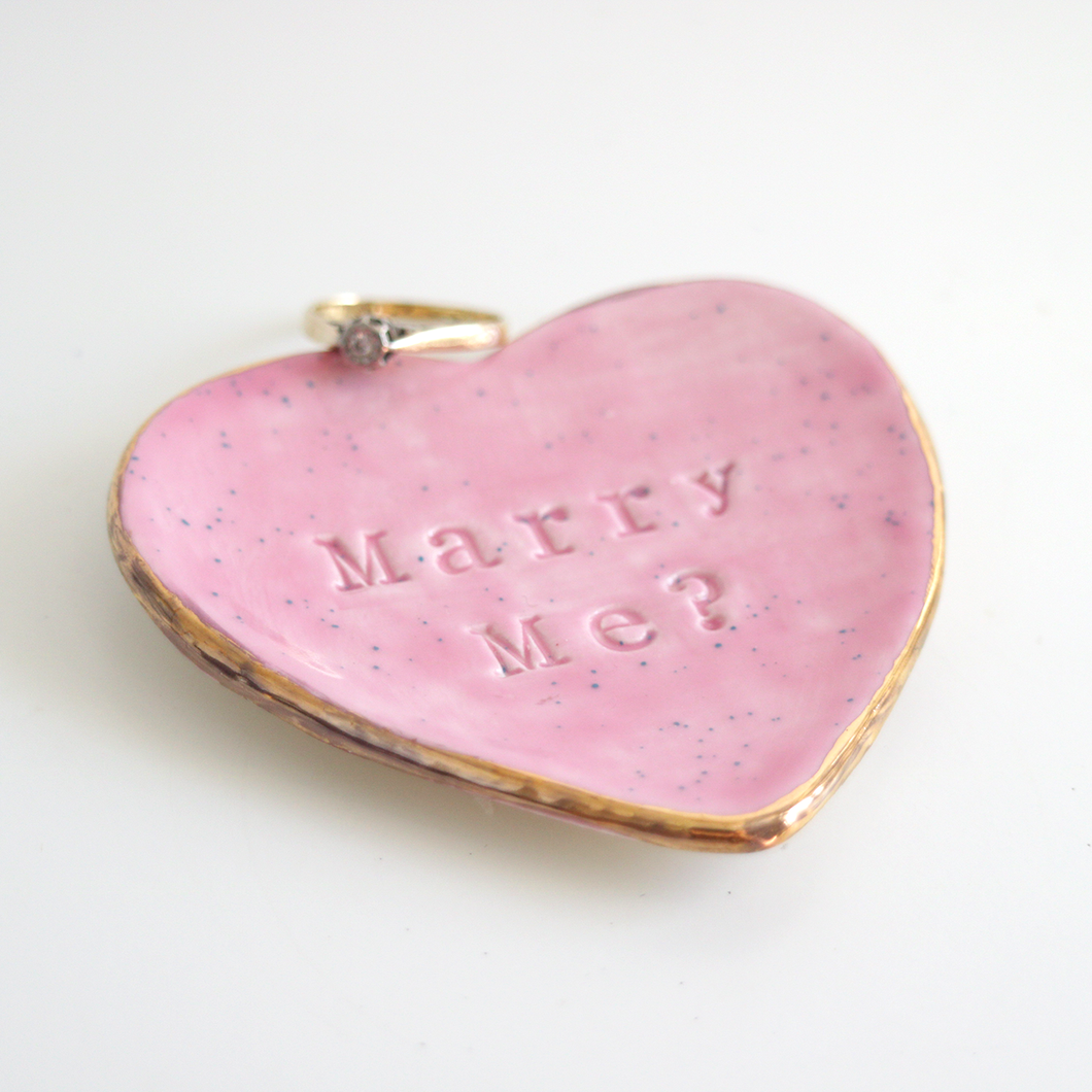 Marry Me Speckled Ring Dish