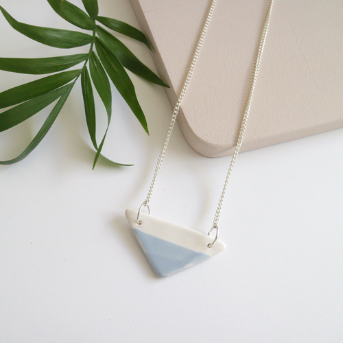 Pale Blue Triangle Ceramic Necklace