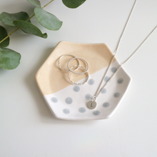Peach and Grey Hexagon Ring Dish