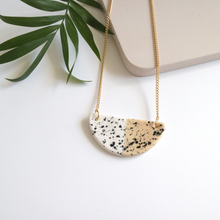 Half Moon Peach Speckled Ceramic Necklace