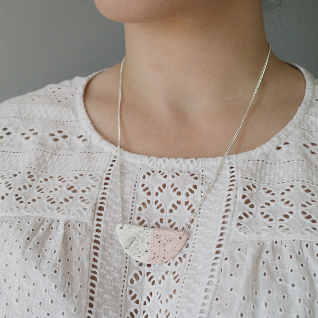 Pink Speckled Ceramic Necklace