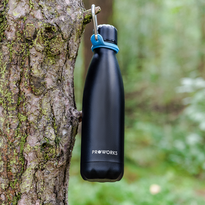 Proworks All Black Water Bottle with Blue Carabiner