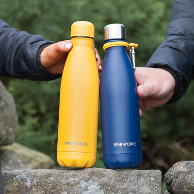 Proworks Mellow Yellow and Midnight Blue Water Bottles