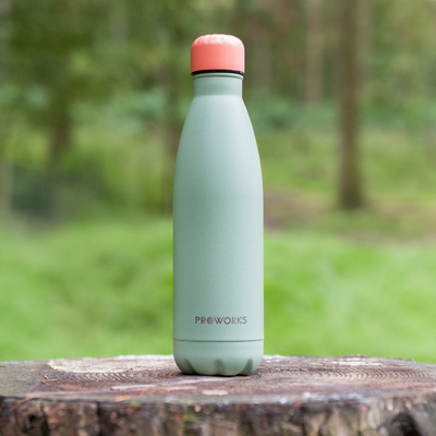 Proworks Mint Green Water Bottle with Peach Sunrise Lid