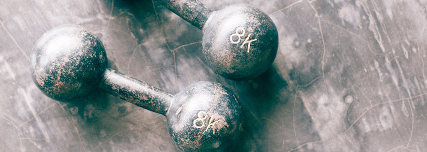 A Set of Free Weight Exercise Dumbbells