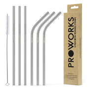Proworks Reusable Metal Straws 6 Pack