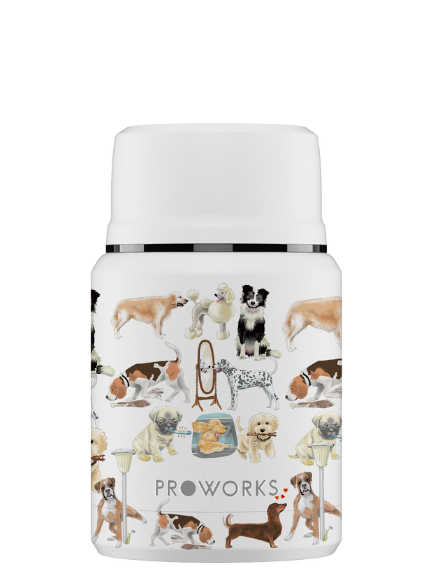 All White A Dogs Tail Food Flask Trimmed