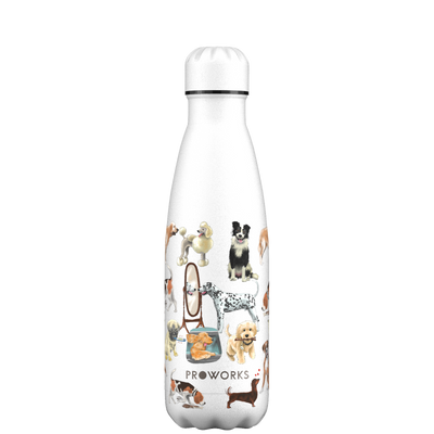 Proworks White A Dogs Tail 500ml Water Bottle