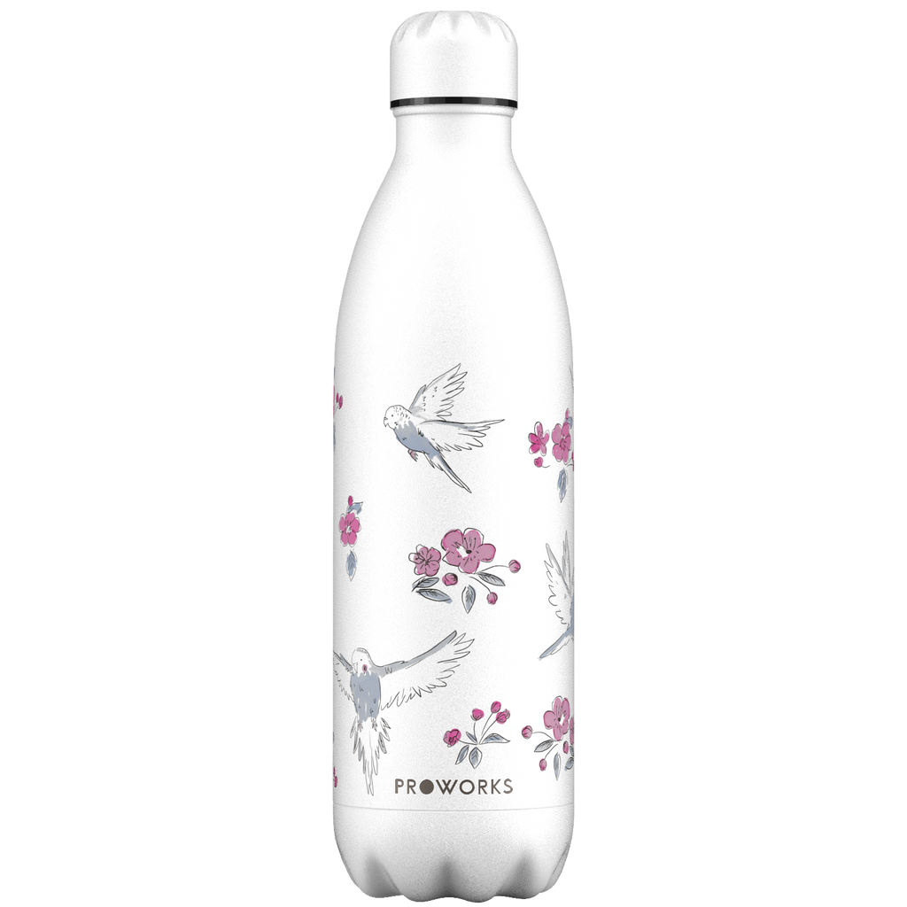 Proworks White Birds and Cherry Blossom 1L Water Bottle