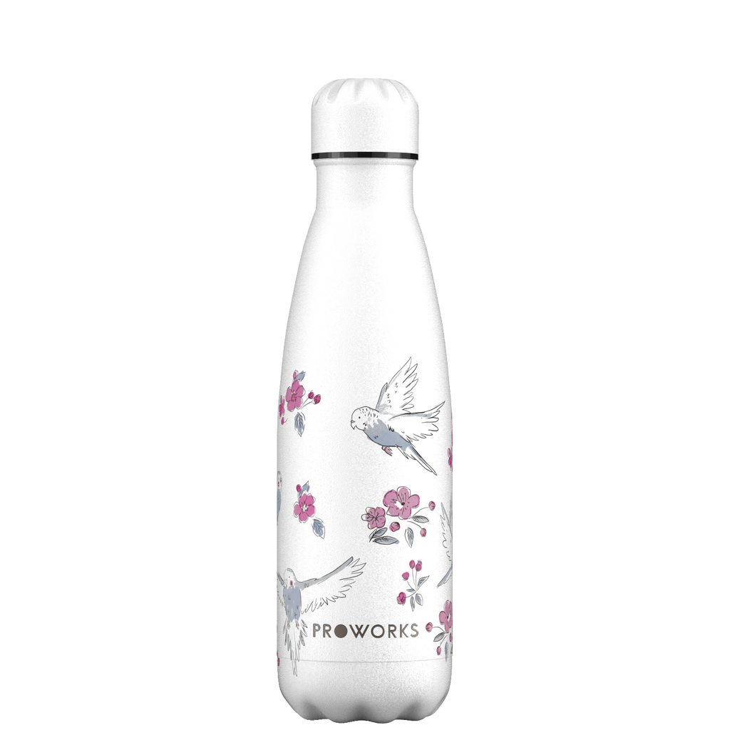Proworks White Birds and Cherry Blossom 500ml Water Bottle