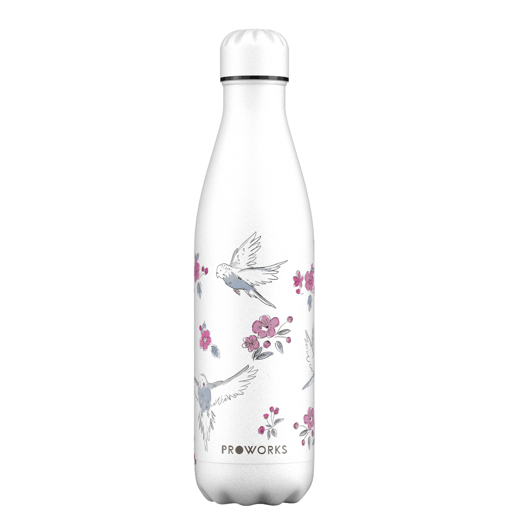 Proworks White Birds and Cherry Blossom 750ml Water Bottle