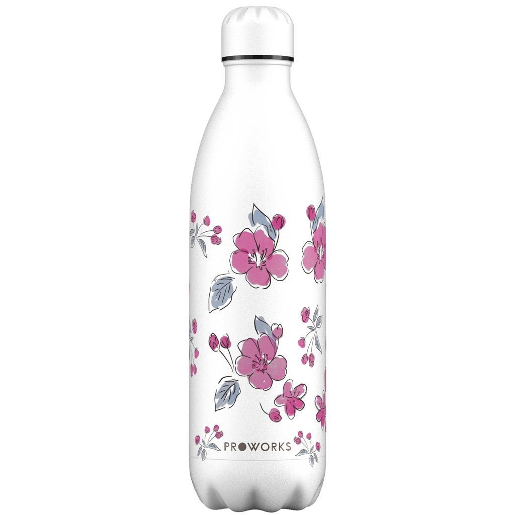Proworks White Cherry Blossom 1L Water Bottle