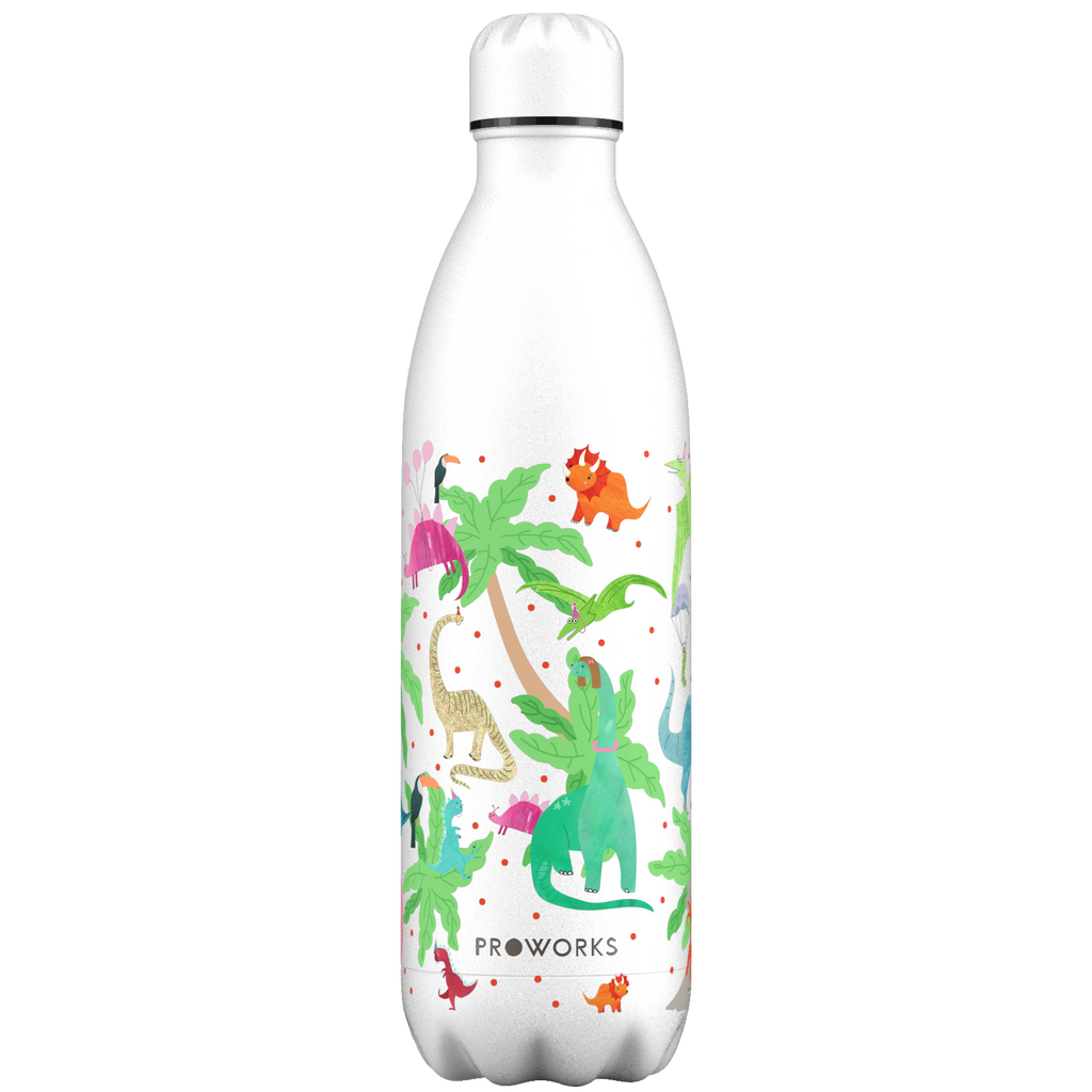 Proworks White Dinosaur 1L Water Bottle