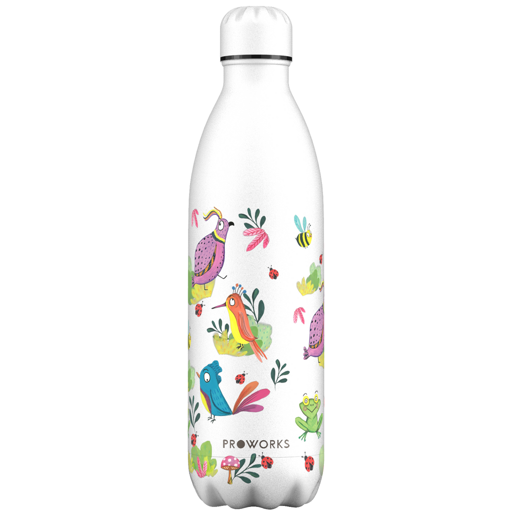 Proworks White Feathered Friends 1L Water Bottle
