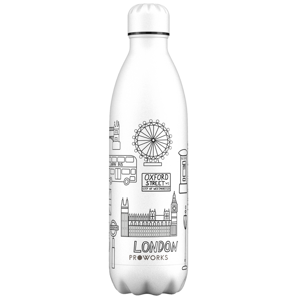 Proworks White London Outline Edition 1L Water Bottle