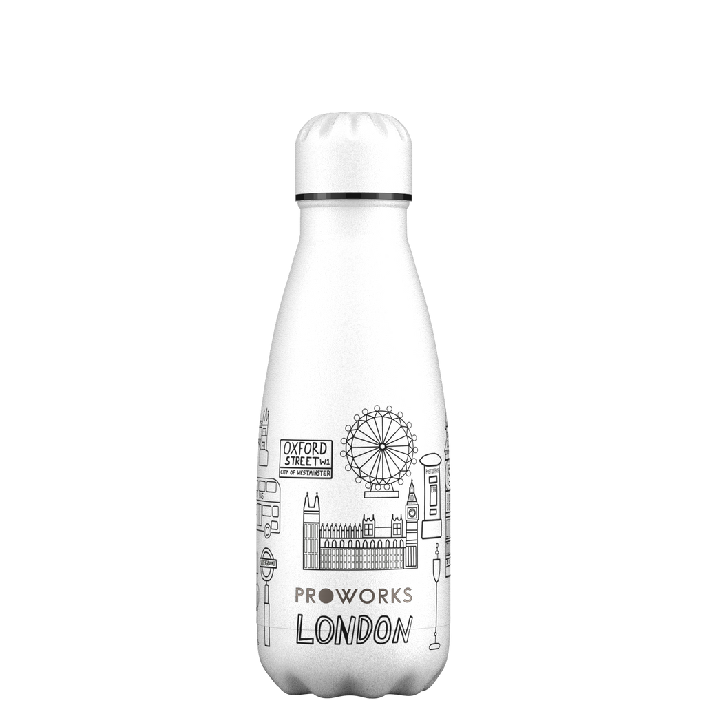 Proworks White London Outline Edition 350ml Water Bottle