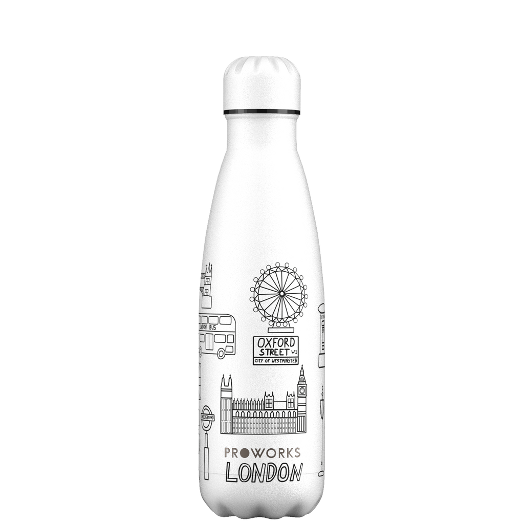 Proworks White London Outline Edition 500ml Water Bottle